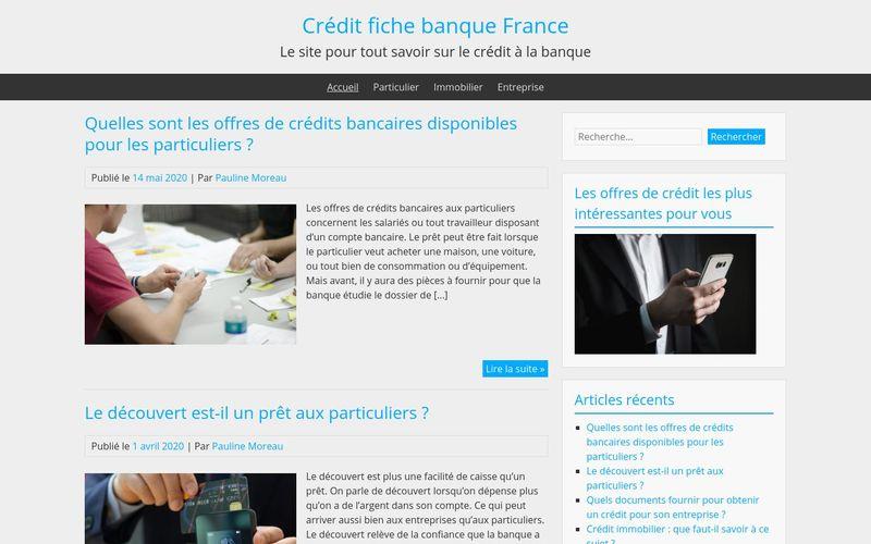 Crédit fiche banque France - Le site pour tout savoir sur le crédit à la banque